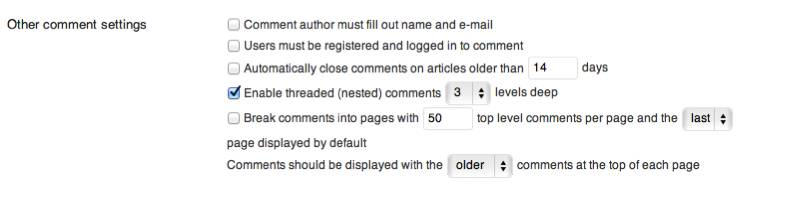 Blogging tips comment settings